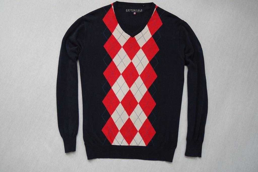COTTONFIELD sweter sweterek granatowy romby_____XL