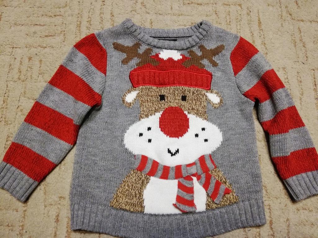 George ciepły sweterek z reniferem 98 2-3 lata