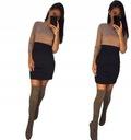 Dopasowana sukienka mini dwukolorowa rękaw 3/4 M Wzór dominujący bez wzoru