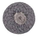 Szary beret berecik retro z futerkowym pomponem