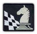 Naszywka - SZACHY, szachownica i koń, srebrny HAFT