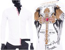 Koszula Męska Cipo Baxx Slimfit Taliowana Cross