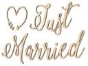 Drewniany Napis na ścianę 3D Just Married