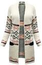 FA#003B_ Sweter Długi Ciepły Kardigan Boho Etno