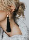 Kolczyki czarne wiszące długie frędzle chwost Marka Inna marka