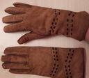 Rękawiczki brązowe skórzane damskie S / M ocieplan