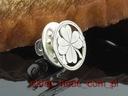 Srebrny pins koniczyna 03 koniczynka