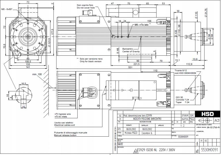 Elektrowrzeciono HSD ATC 9kW 24000RPM ISO30 ES929
