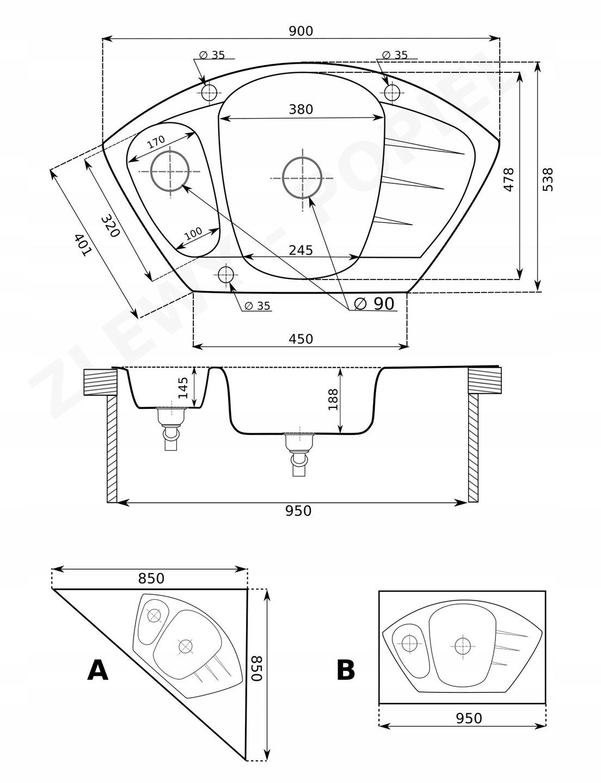 Zlewozmywak granitowy narożny rysunek techniczny