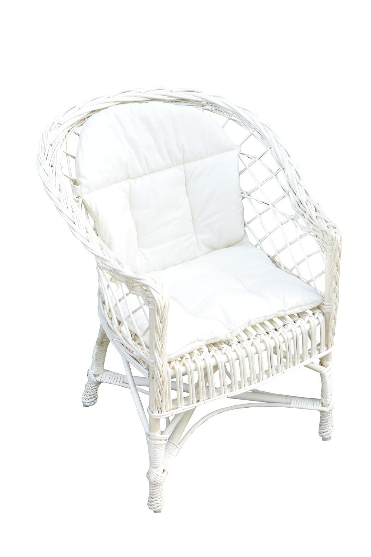Fotel Wiklinowy Biały Poduszka Kolor Ecru