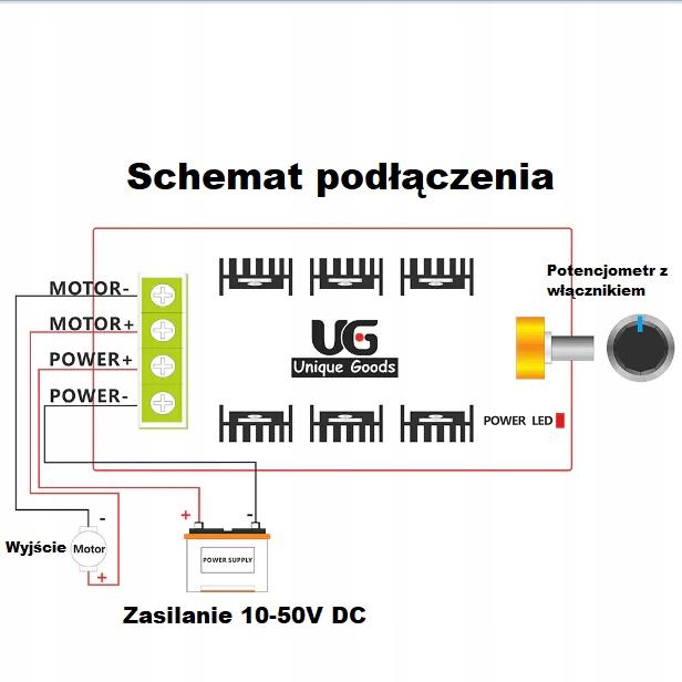 Regulator prędkości silników PWM DC 10-50V 30A/40A