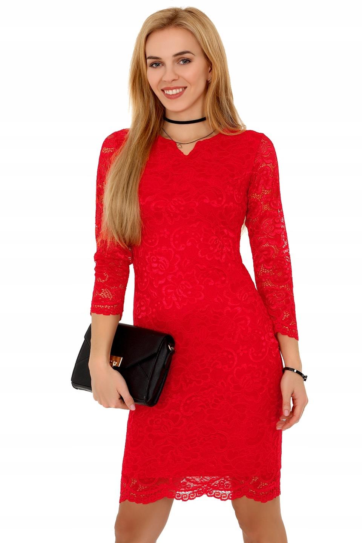 cdee0cb6ce Obcisła czerwona Sukienka koronkowa przed kolano L 7710819918 ...