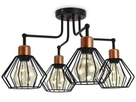 Lampa Plafon Loft Edison z Drutu Druciana 720-4