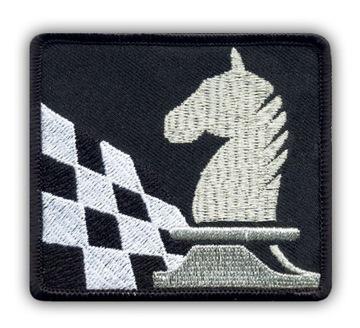 Полоса - ШАХМАТЫ, шахматная доска и конь, серебряный ВЫШИВКА доставка товаров из Польши и Allegro на русском