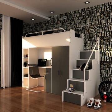 Łóżko piętrowe z szafą i biurkiem 9 kolorów