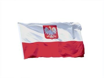 Vlajka Poľska s Emblem 150x90 Poľský znak Poľsko