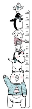 Наклейка GROWTH RULER Воздушный шар Медведь Ракета Жираф