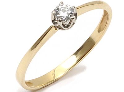 Złoty 585 Pierścionek Zaręczynowy Z Brylant Vvs 7547066000 Allegropl