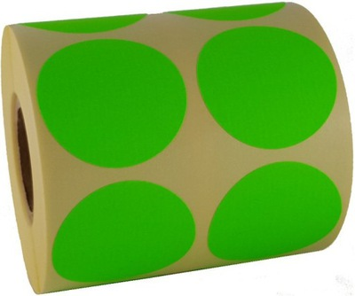 zielone naklejeczki etykietki szybko rozmiar 5cm