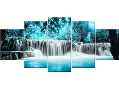 Картина на холсте триптих Водопад 150x70 на стену