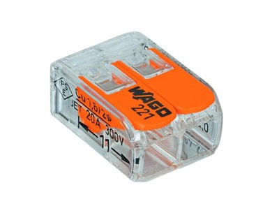 1x быстроразъемное соединение Wago с рычагами 2x0,2 -4 мм2