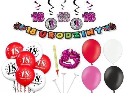 Girlandy na party - Sada dekorácií pre banner s 18 ročnými balónikmi