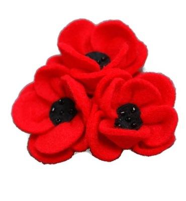 broszka duza kwiat mak prezent maczki czerwona