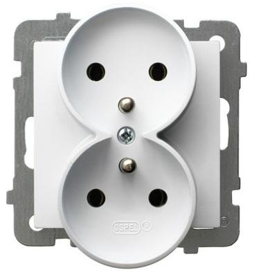 OSPEL AS Гнездо двойные С заземлением белое