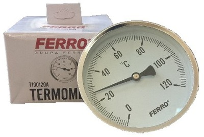 """SHIELD THERMOMETER 100mm 1/2 """"axial, 0-120C"""