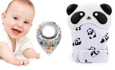Teether rukavice počiatočných Panda šatku