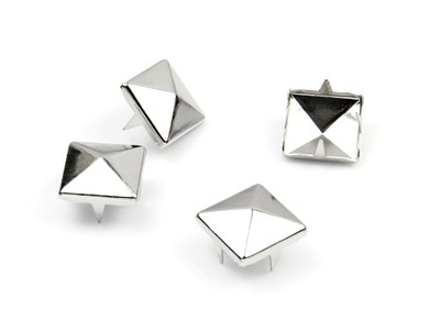 БЛЕСТКИ металлические пирамидки 4 ЦВЕТА, ТРИ размеры
