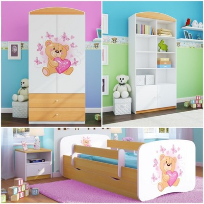 Sada 3 el nábytok, skrine, poličky na knihy posteľ 160x80cm buk