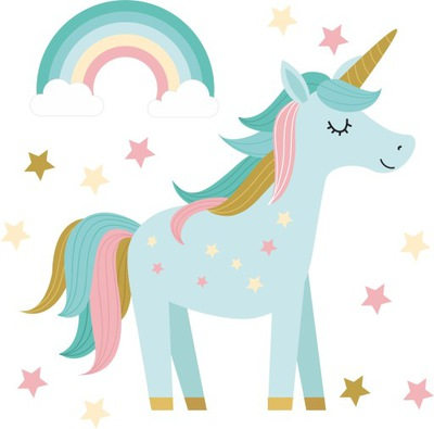 Nálepka na stenu Unicorn baby rainbow unicorn