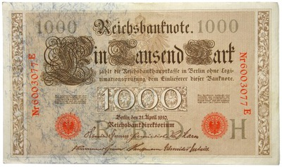 Niemcy - BANKNOT - 1000 Marek 1910