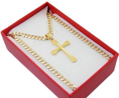 Śliczny Srebrny Łańcuszek + Krzyżyk Pozłacane 14k