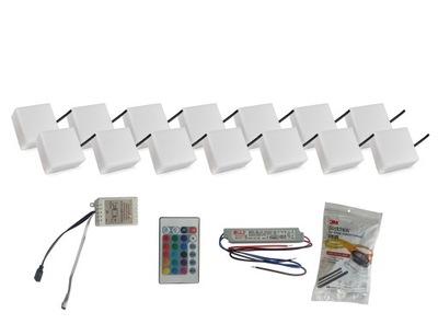 Záhradné svietidlo nájazdové - 14x žiarivý dlažobný kameň LED 10X10 Holland RGB