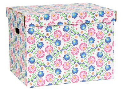 Úložný box - PUDEŁKO ŁOWICKIE WZORY V02 NA SZAFĘ DEKO 42x32x32