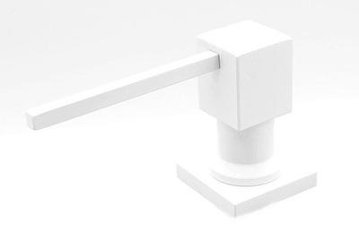 Dávkovač na tekuté, štvorcové biele umývadlo