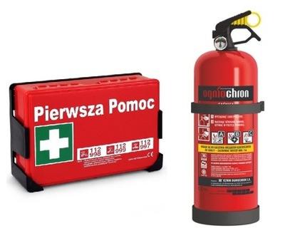 MEGA Súpravy do Auta prvá pomoc Kit + hasiaci prístroj 2 kg ABC
