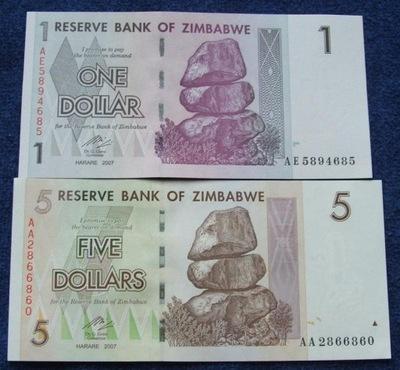 комплект БАНКНОТ ЗИМБАБВЕ 1 5 DOLLARS UNC !! супер