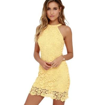 36763453182ea4 Sukienka mini koronkowa ażurowa lato 5 kolorów L 7689480908 - Allegro.pl