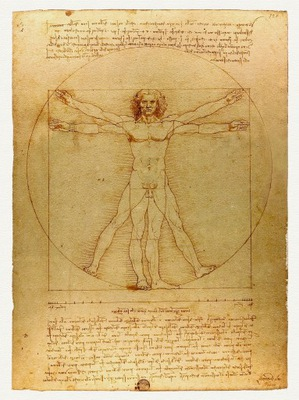 Витрувианский человек Леонардо ДА ВИНЧИ 1490 года.