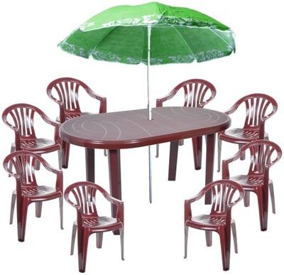 Záhradný set nábytku - STRANG BORDER SET 8 + 1 + UMBRELLA veľké tabuľové stoličky