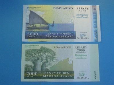 Мадагаскар 2 Банкноты !! Две тысячи 5000 Ариари UNC