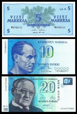 Instagram комплект 5 + 10 + 20 Markkaa 1963-1993 UNC