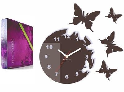 Moderné veľké nástenné hodiny MOTÝĽA, motýle Bronz