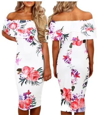 8908ae8609 Sukienka hiszpanka w kwiaty ściągacz na dekolcie. - 7353513026 ...