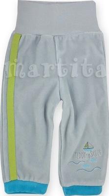 Spodnie spodenki welurowe z szerokim pasem 68 cm