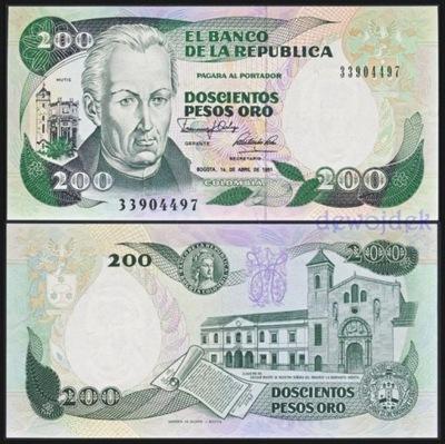 МАКС - КОЛУМБИЯ 200 Песо Oro 1991 года. # UNC
