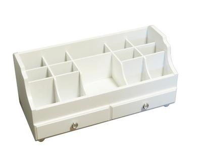 Organizér, kufrík, skrinka - Szkatułka na biżuterię biała drewniana retro